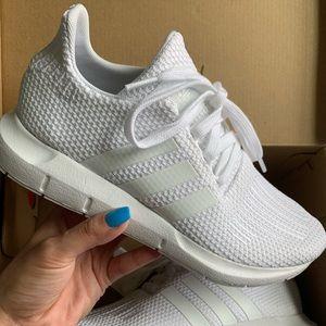 White Adidas Swift Run